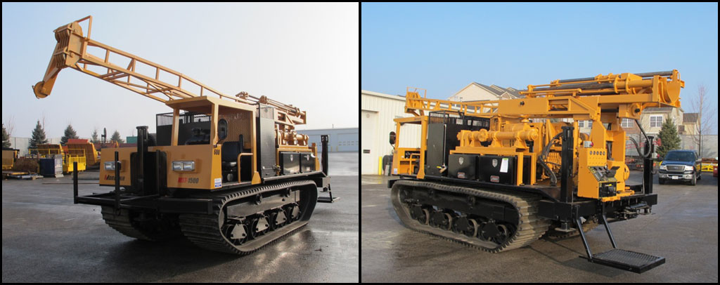 Front & Back Views of Mobile B59 Drill Mounted on Morooka MST1500 Crawler Carrier
