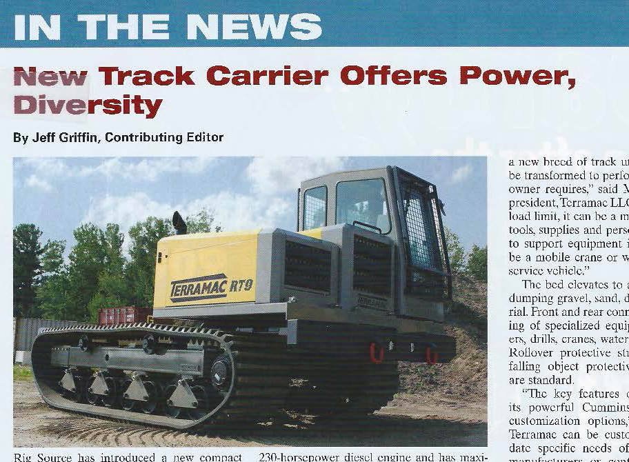 Terramac RT9 Featured Article in Pipeline News