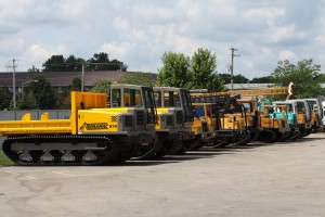 Variety of crawler carriers lined up