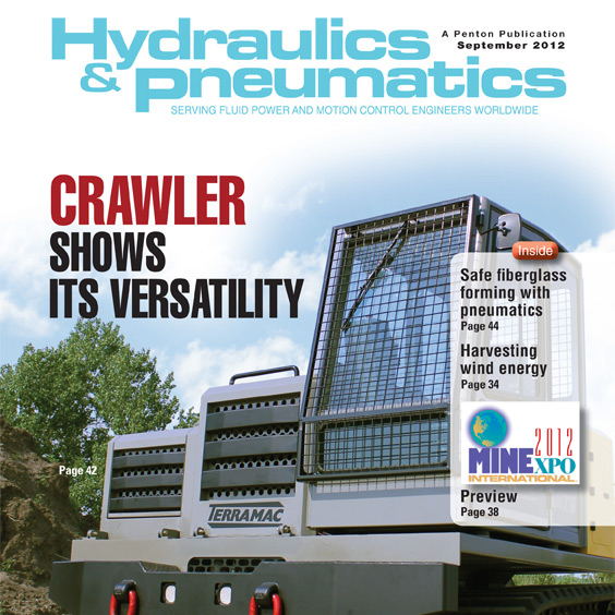 Terramac RT9 Crawler Carrier on Cover of Hydraulics & Pneumatics