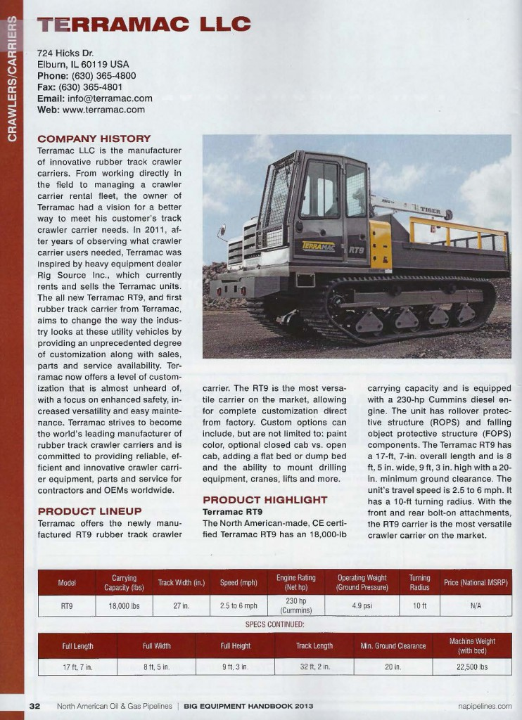 Terramac LLC rubber track crawler carrier listing in the North American Oil and Gas Pipeline - Big Equipment Handbook